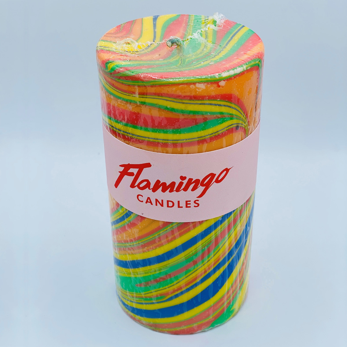 Rainbow Chaser Marble Pillar Candle